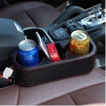 Black PU Leather Car Seat Drink Cup Holder Wedge Valet Beverage Bottle Stand