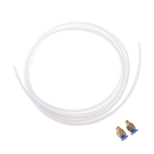 UEETEK 2 Meters PTFE Teflon Tube and 2 Pieces Connectors