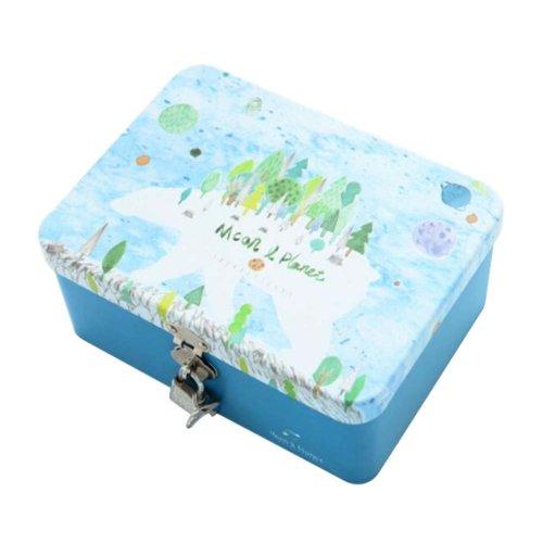 Creative Lock With Iron Box Desktop Storage Box-L/Blue