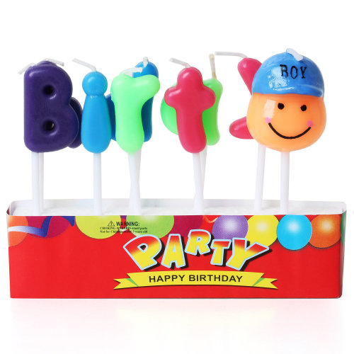 TRIXES Multi Coloured Boy Novelty Birthday Cake Candles