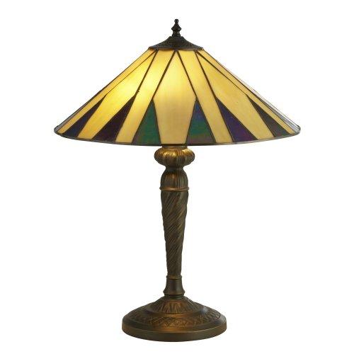 Searchlight Charleston Tiffany Table Lamp Yellow Multi