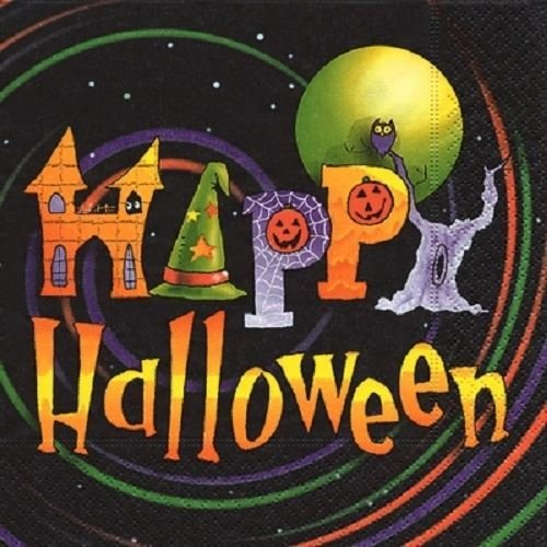 Paper+Design Pack of 20 Napkins / Serviettes - Happy Halloween In Black - 33cm x 33cm - 3ply
