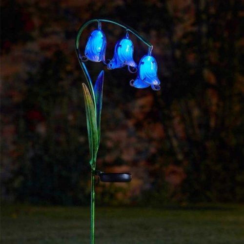 Bluebell Stake Lights Garden Ornament Decoration Flower Bluebells