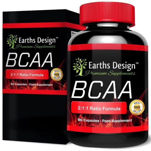 BCAA - Aminos 2:1:1 - 450mg Branched Chain Amino Acids with Leucine, Isoleucine, Valine - 90 Capsules (3 Month Supply) by Earths Design