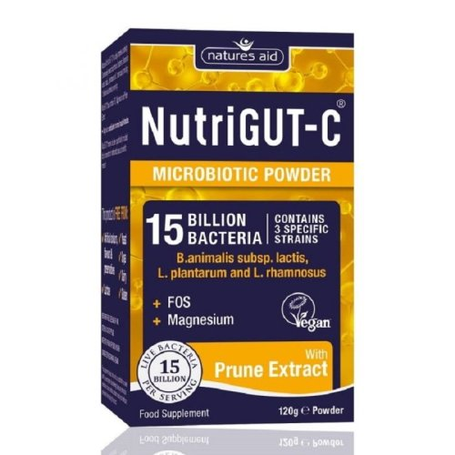 Natures Aid NutriGut-C Microbiotic Powder with Prune Extract 120g Powder