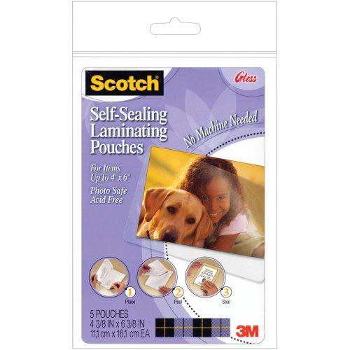 """Scotch Self-Sealing Laminating Pouches 5/Pkg-4""""X6"""""""