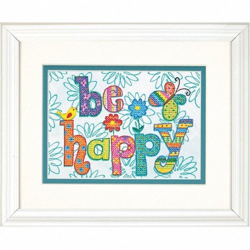 D70-65115 - Dimensions Stamped X Stitch - Be Happy