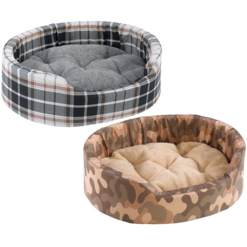 Dandy Cotton & Fur Tartan Bed Mixed Colours 80x55x20cm X2 (Pack of 2)
