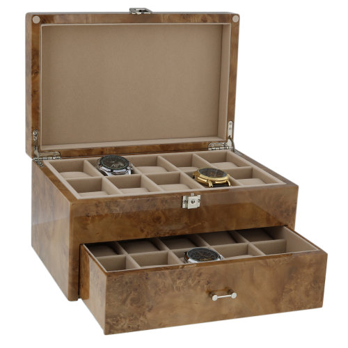 Watch Box for 20 Watches in Light Burl Wood with Solid Lid by Aevitas