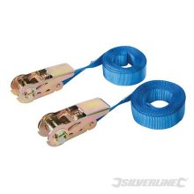 Silverline Pack Of 2 Endless Ratchet Tie Down Strap - Tie Capacity 500kg Rated -  ratchet endless strap tiedown capacity silverline 500kg rated 250kg