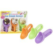 Pack Of 3 Assorted Colour Stubby Ice Cream Scoops. - x Scoop Eat 2 1 Cookie -  3 x scoop eat 2 1 stubby ice cream cookie dough scoops serving eating
