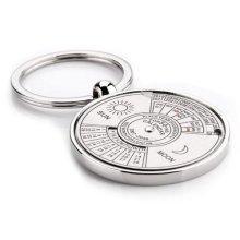 Silver-Tone Perpetual Calendar Keyring Keyring 3.5cm Diameter Stainless Steel Fifty Year Date Mens Gift Husband