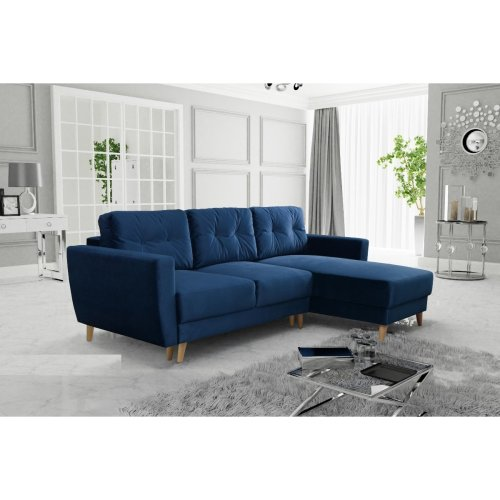 Corner Sofa Bed Retro 2, Storage, Velluto Fabric