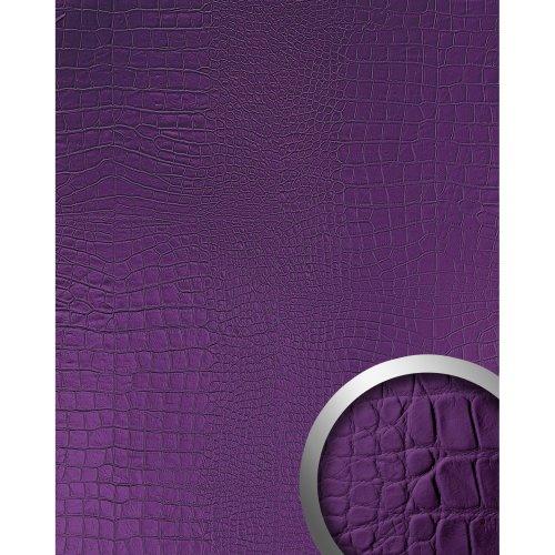 WallFace 16415 CROCO NOVA Wall panel leather decor wallcovering violet 2.60 sqm