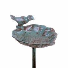 Verdigris Cast Iron Leaf Design Garden Bird Feeder on a Stake