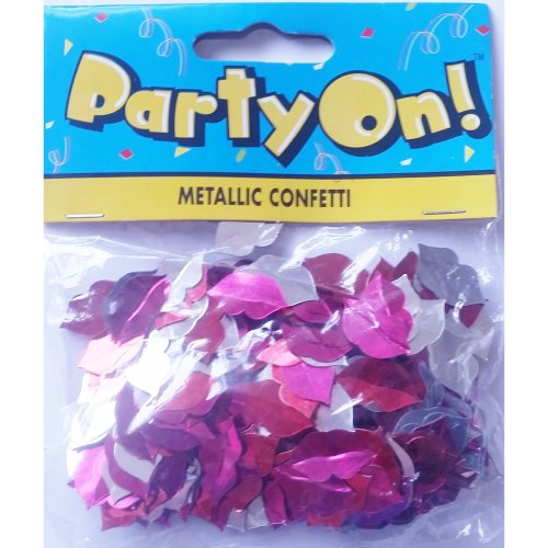 Lips Confetti Pink Red Silver Die Cut Metallic 14g Valentines Day Wedding Engagement Party Supplies Romantic Romance