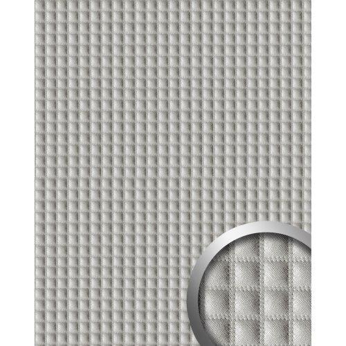 WallFace 16422 QUADRO Wall panel leather square decor silver-grey | 2.60 sqm