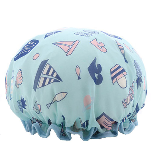 Womens Stylish Design Mold-resistant Shower Cap Double Layers Waterproof Bath Cap,A