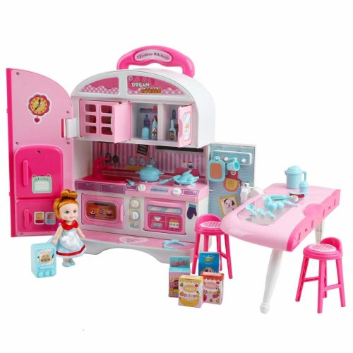 deAO Kids Little Chef Convertible Cooking House in Suitcase - Kitchen Dollhouse Play Set with Portable Carrycase, Custom Doll and Accessories