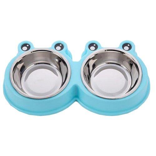 Little Double Bowls Set Feeding Pot/Pet Bowls/Dog Bowls/Cat Bowls For Food & Water M Size(C#06)