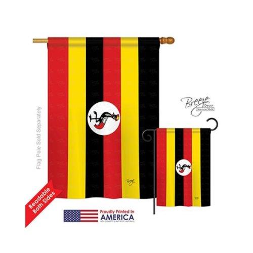 Breeze Decor 08295 Uganda 2-Sided Vertical Impression House Flag - 28 x 40 in.