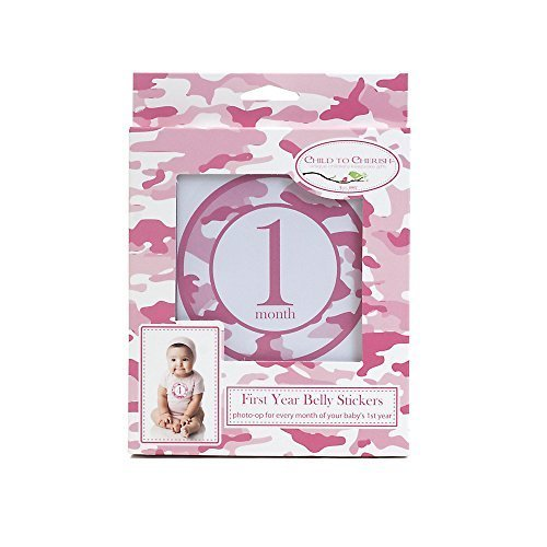 Child to Cherish Monthly Camo Belly Stickers, Pink