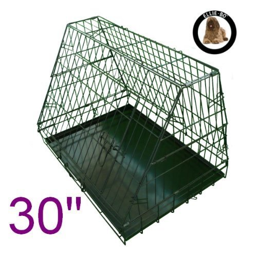 Ellie-Bo Sloping Puppy Cage Folding Dog Crate, Slanted Front, 30-inch, Black