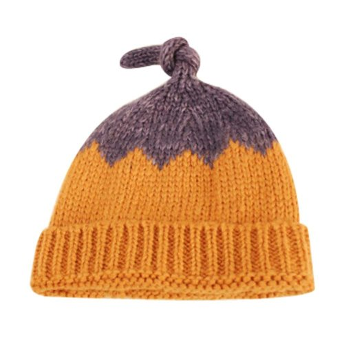 Soft Stretch Knit Beanie Hat - Orange & Purple