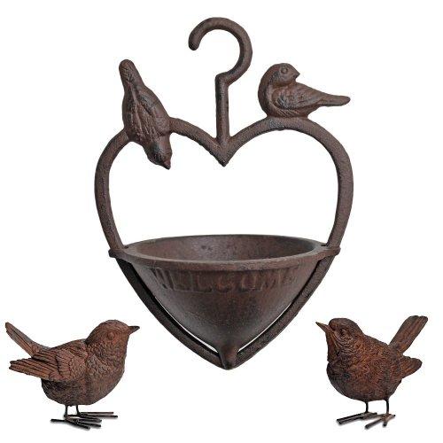 Cast Iron Hanging Heart Bird Feeder & Resin Wren Bird Garden Ornament Set