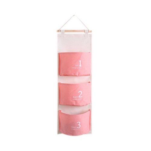3-Pocket Wardrobe Hanging Organizer Number Series Hanging Storage Bag, Light Red