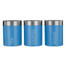 Set Of 3 Liberty Tea Coffee Sugar Enamel Canisters - Blue