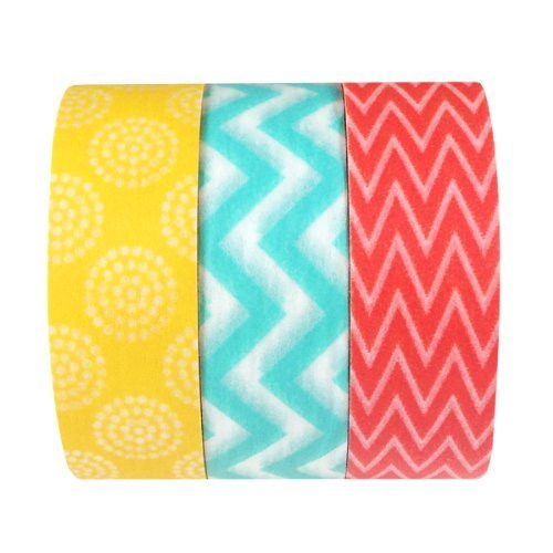 Wrapables Summer Fling Chevron and Circling Japanese Washi Masking Tape Set of 3