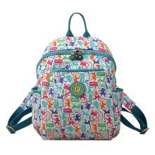 Women Zipper Backpack Water Resistant Under 13-Inch Laptop, White, Monkey
