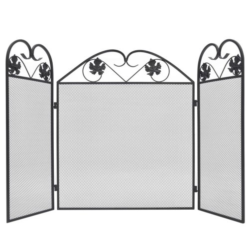 vidaXL 3-panel Fireplace Screen Iron Black Security Safety Panel Guard Cover