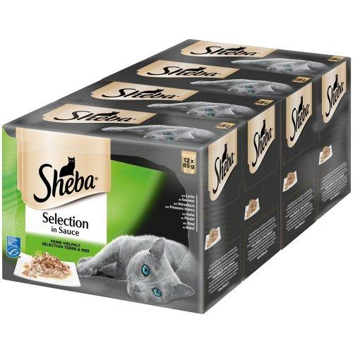 Sheba Fine Variety Multi Pack Wet Cat Food, in Gravy, pack of 4 (4x 12x 85g)