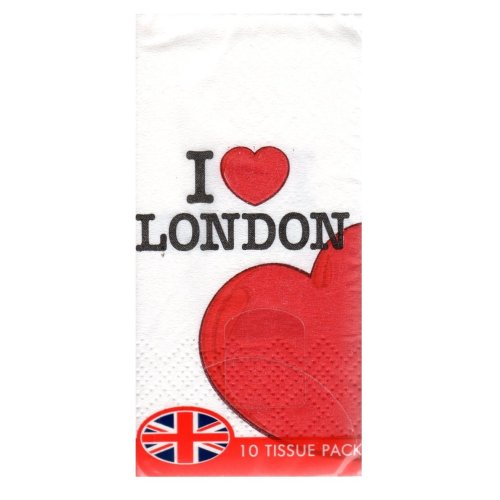 1 x Pack of 10 I Love London Pocket Paper Tissues 3 Ply White Facial Printed Red Heart UK GB Handkerchiefs Hankies