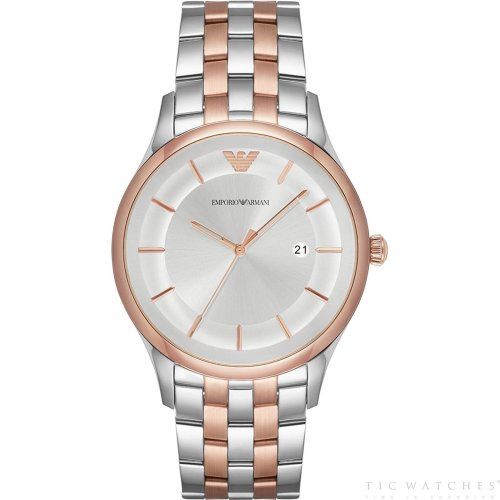 Emporio Armani Mens Gents Watch Rose Gold And Silver Stainless Steel Strap Silver Dial AR11044