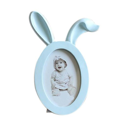 6-inch Photo Frame Rabbit Ears Shape Lovely Photoframe and Home Decoration, Blue