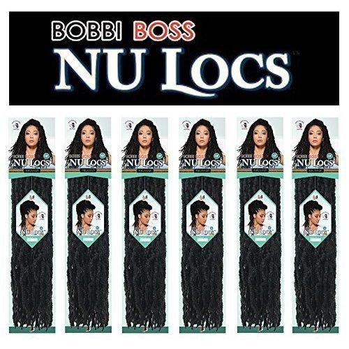Bobbi Boss 100% Premium Fiber Hair Nu Locs 18  BNULC18 (6 Pack  Color 1B)