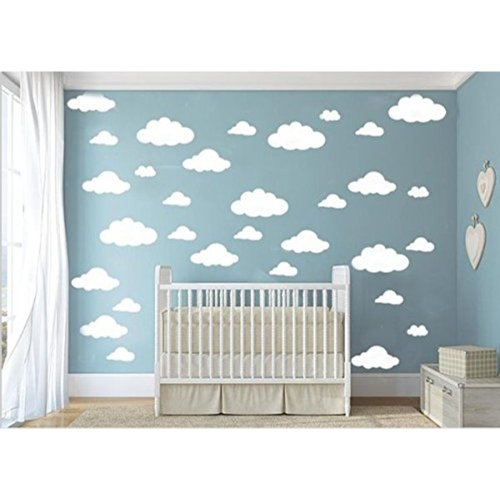 31pcs Big Clouds Vinyl Wall Decals DIY Wall Sticker Removable Wall Art Sticker for Living Room Kids Room (White)