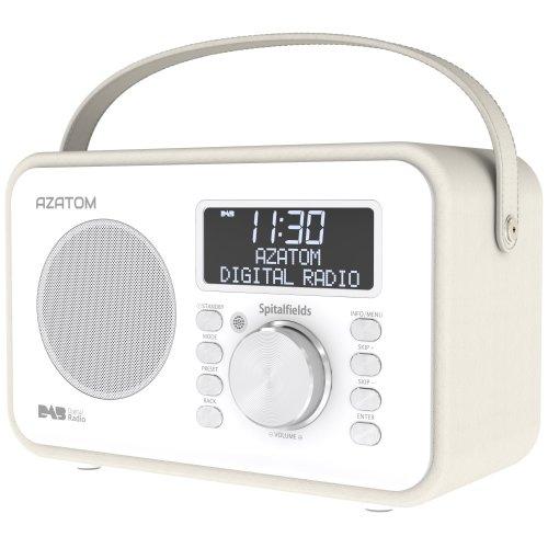 Spitalfields Retro DAB/DAB+ Digital FM Portable Radio/Alarm Clock/Leather Effect Finish/Mains Powered/Rechargable Battery/Subwoofer / Premium...