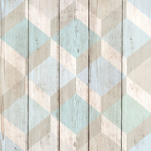 Grandeco Copenhagen Geometric Pattern Wallpaper Faux Wood Effect Textured 134501