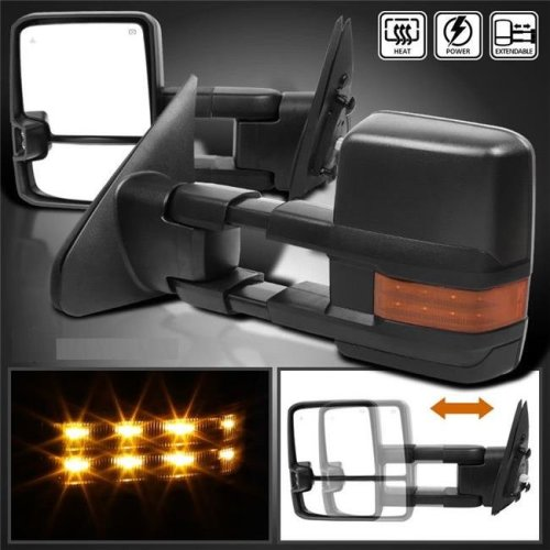 Spec D Tuning RMX-TUN07G3LEDHP-FS LED Black Power Towing Mirrors with Heated Function for 2007-2017 Toyota Tundra