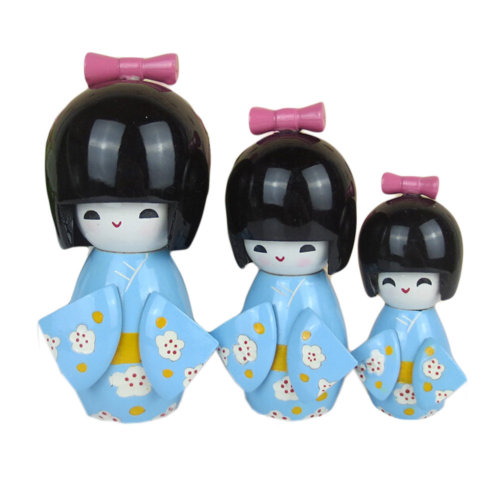 3 Pcs Lovely Japanese Kimono Girl Wooden Dolls With Plum Flower, Blue