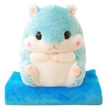 9c94baf7b62 Alpacasso 3 IN 1 Cute Blue Plush Hamster Throw Pillow and Folding Air  Conditioning Car Blanket Cushion Set.