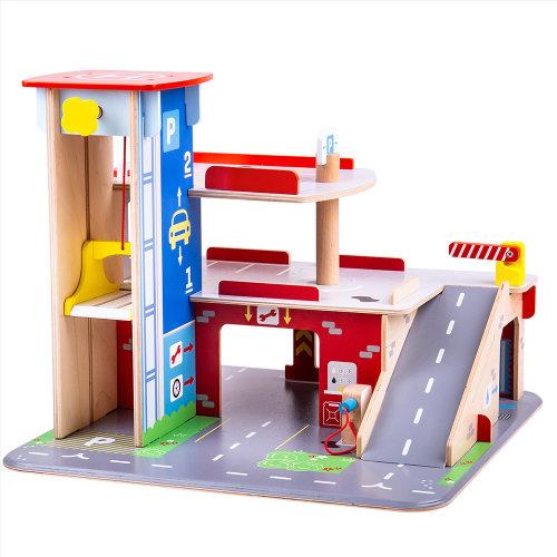 Bigjigs Toys Wooden Park & Play Garage Playset
