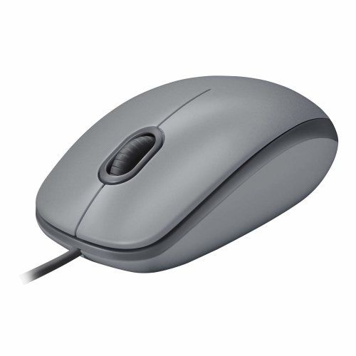 Logitech M110 Silent Corded Mouse, Comfortable Full-Size Computer Mouse  with Quiet Click For Laptop, Notebook, PC and Mac - Grey