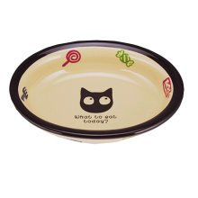 6.5-Inch Lovely Cartoon Ellipse Ceramic Cat Food Bowl,Pet Bowl (16.5*3.5cm)