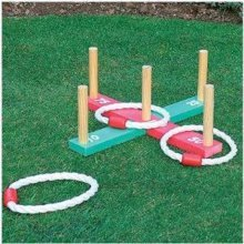 Starmo Wooden Garden Indoor Outdoor Quoits Pegs & Rope Hoopla Family Fun Game Summer