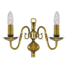 2 Arm Antique Brass Traditional Wall Light